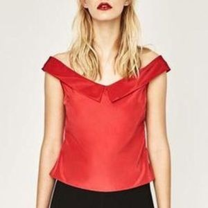 Zara Basic Collection Red Sexy Off Shoulder Top